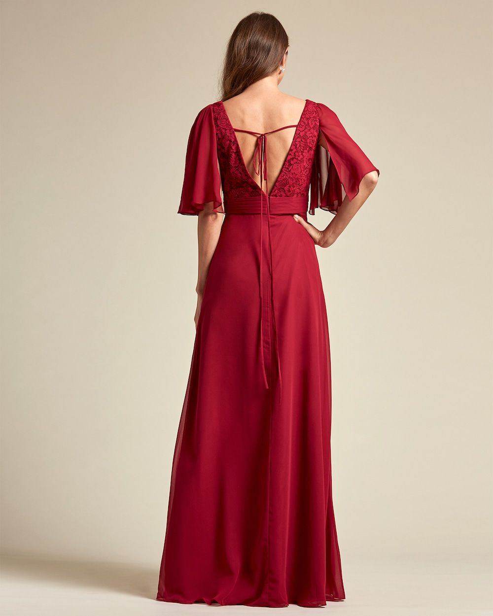V Neck Embroidered Top With Bell Sleeves Bridesmaid Dress - Back