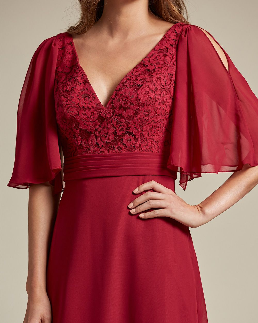 V Neck Embroidered Top With Bell Sleeves Bridesmaid Dress - Detail