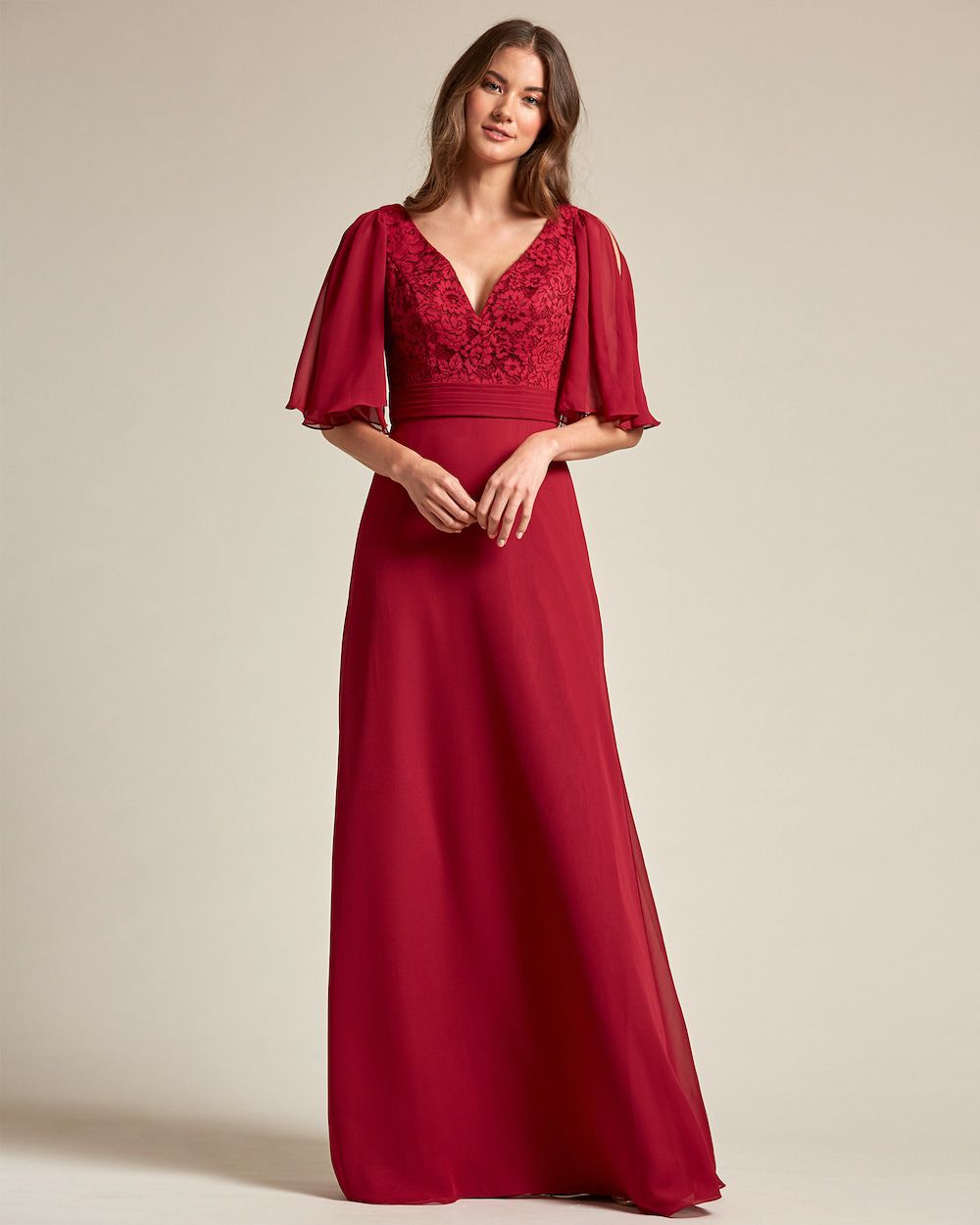 V Neck Embroidered Top With Bell Sleeves Bridesmaid Dress - Front