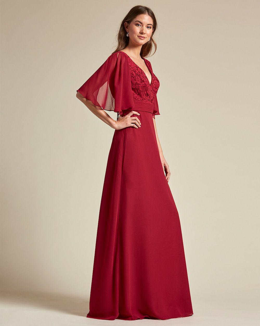 V Neck Embroidered Top With Bell Sleeves Bridesmaid Dress - Side