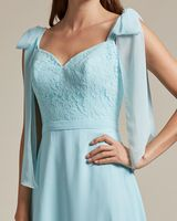 Ribbon Detail Shoulder With Embroidered Top Maid of Honor Dress - Detail