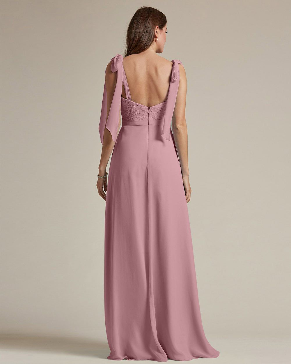 Ribbon Detail Shoulder With Embroidered Top Maid of Honor Dress - Back
