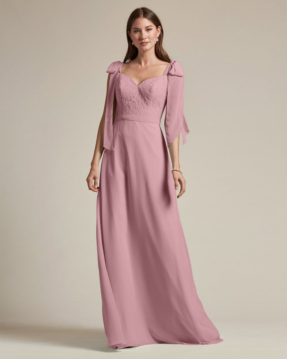 Ribbon Detail Shoulder With Embroidered Top Maid of Honor Dress - Front