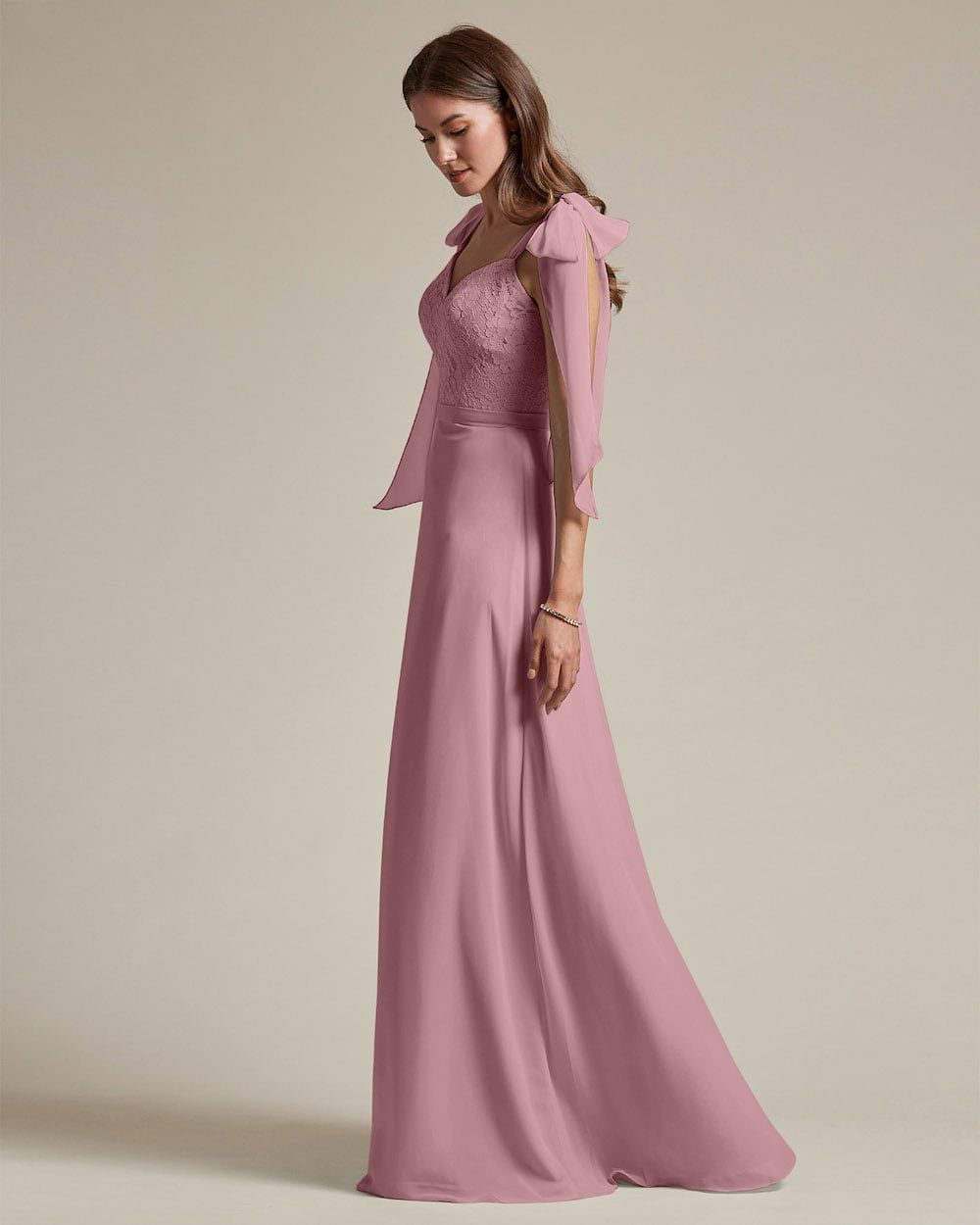 Ribbon Detail Shoulder With Embroidered Top Maid of Honor Dress - Side