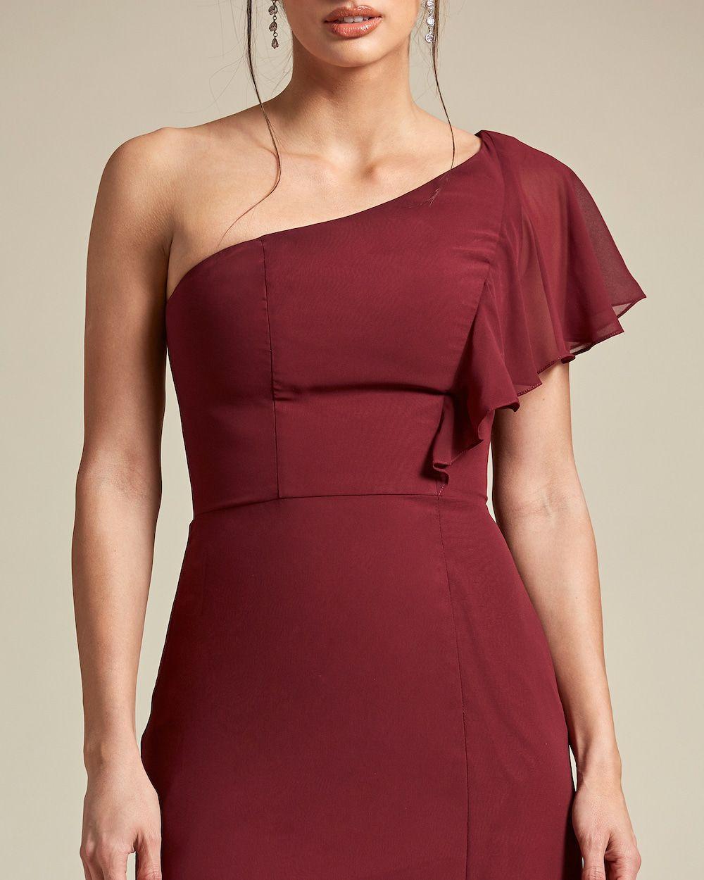 Asymmetrical Cap Sleeve Maxi Dress - Detail