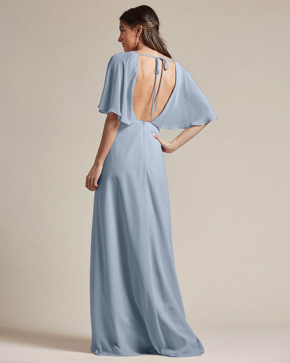 Flounder Design With Large Cut Out Back Long Skirt Bridesmaid Gown - Back