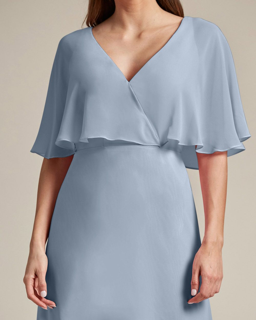 Flounder Design With Large Cut Out Back Long Skirt Bridesmaid Gown - Detail