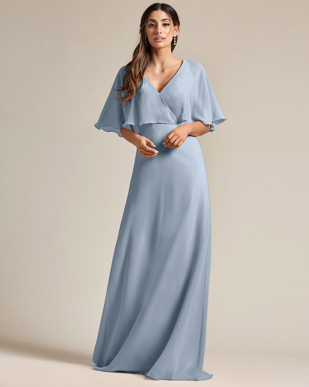 Flounder Design With Large Cut Out Back Long Skirt Bridesmaid Gown - Front