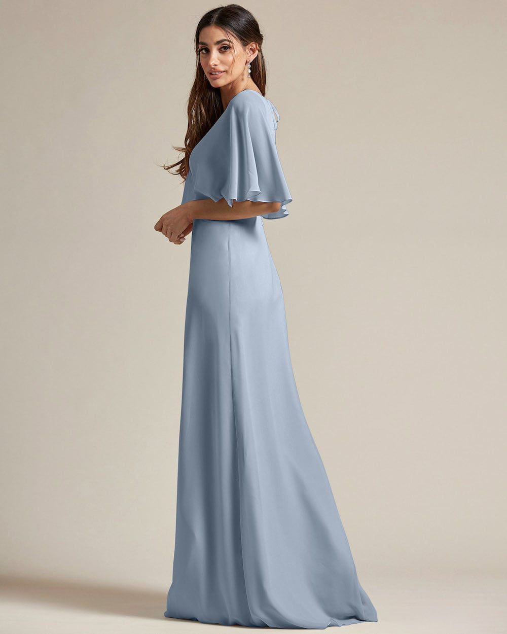 Flounder Design With Large Cut Out Back Long Skirt Bridesmaid Gown - Side